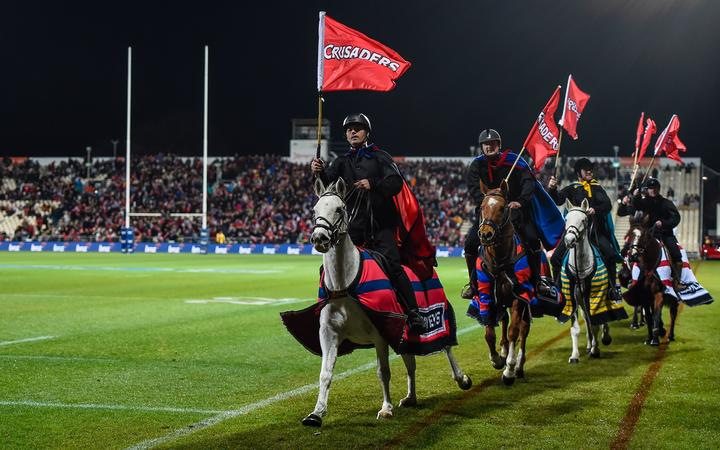 Thee Horsemen during the Super Rugby Quarter Final, Crusaders vs Highlanders.