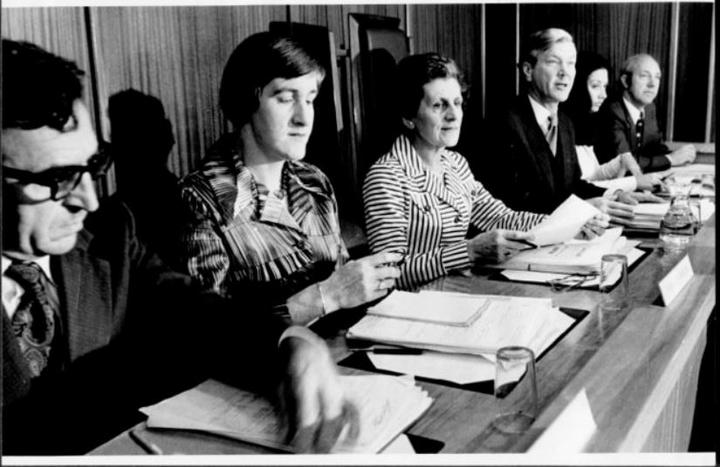 The members of the Royal Commission on Contraception, Sterilisation and Abortion which sat from 23 June 1975 to 31 March 1977. Photographed by an unknown photographer in 1977.