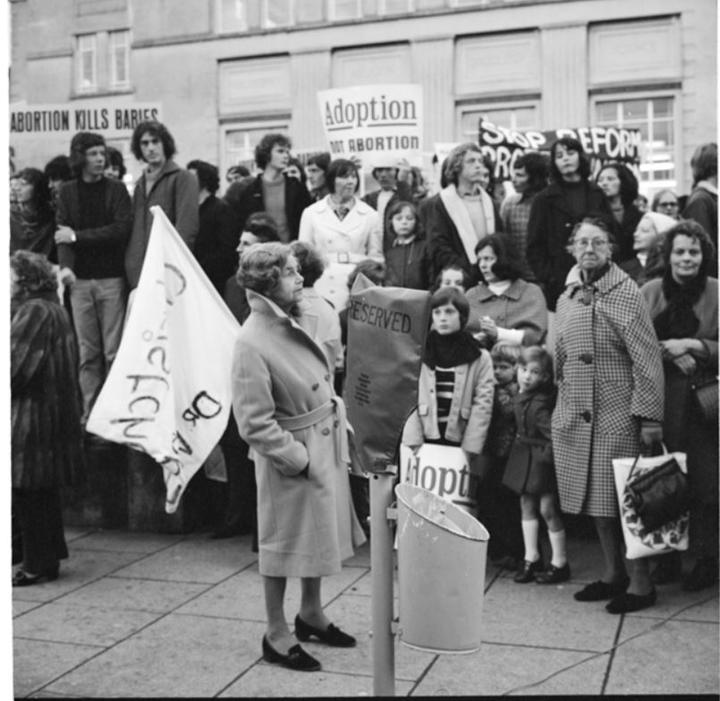 Pro-life protesters at a demonstration on Abortion Action Day, Wednesday 24 April 1974.