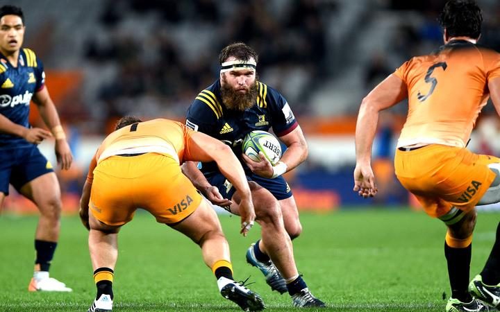 Liam Coltman of the Highlanders in action, during the Super Rugby match between the Highlanders and the Jaguares