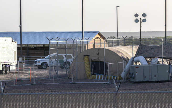 A temporary facility set up to hold immigrants is pictured at a US Border Patrol Station in Clint, Texas, on June 21, 2019.