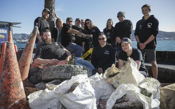 The Ghost Fishing NZ team with some of the rubbish cleared out of Oriental Bay on their recent dive