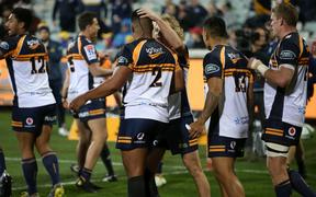 Brumbies hooker Folau Fainga'a is congratulated for one of his 11 tries during the Super Rugby season.