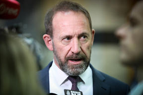 Minister of Justice Andrew Little speaks to media before heading into the debating chamber.