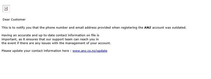 An example of the email scam sent to ANZ customers.