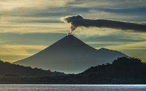 Papua New Guinea's Mount Ulawun issues steam in November 2017. It is the highest mountain in the Bismarck Archipelago at 2334m, and one of the most active volcanoes in the country.