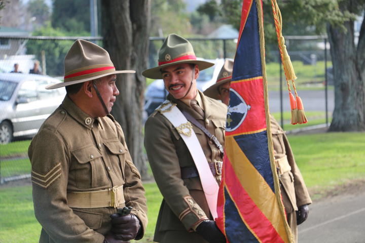 The 100 man honour guard represented the 100 years since the return of the Pioneer Battalion to Te Tairawhiti