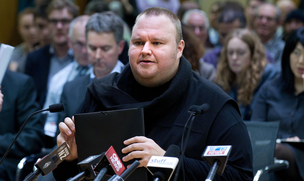 Kim Dotcom at a parliamentary committee hearing on GCSB legislation in July last year.