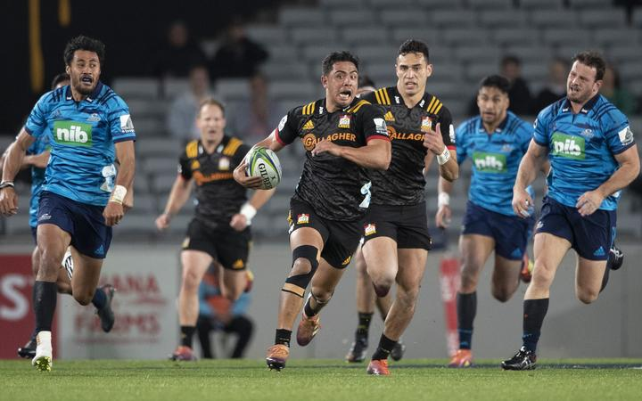 Chiefs back Anton Lienert-Brown, during the Super Rugby match between the Blues and the Chiefs
