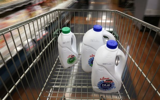 Milk containers in supermarket trolley.