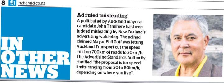 The New Zealand Herald reports Newstalk ZB's ads for John Tamihere's election campaign were judged to be misleading.
