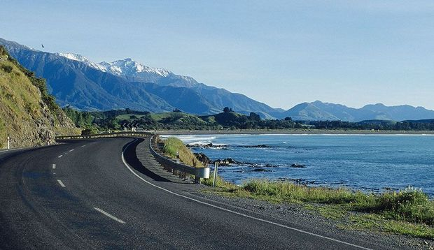 State Highway 1 south of Kaikoura.