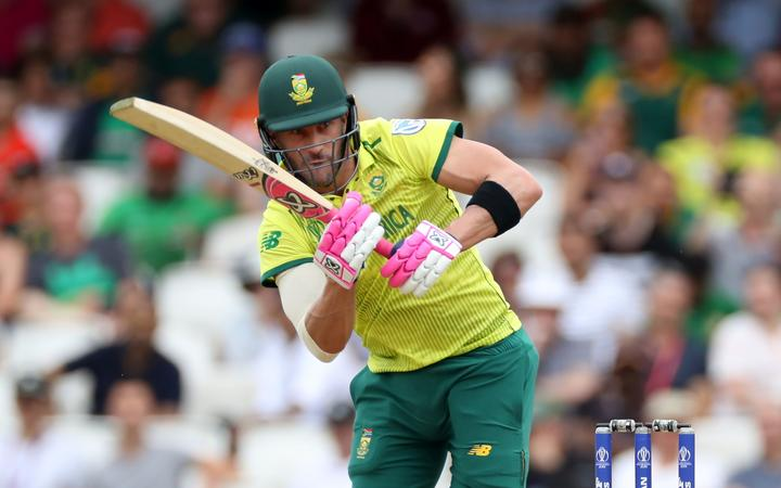 Faf du Plessis bats during the Cricket World Cup 2019