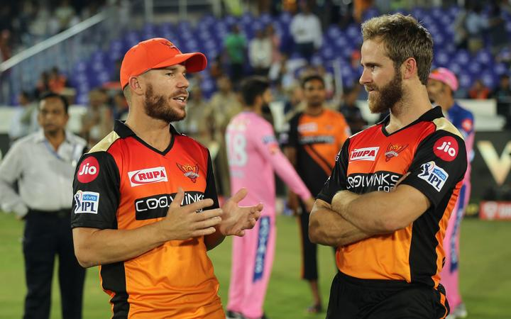 David Warner of Sunrisers Hyderabad  and Kane Williamson captain of Sunrisers Hyderabad.