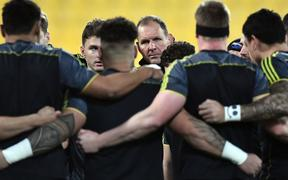 Hurricanes head coach John Plumtree seen at the team huddle.