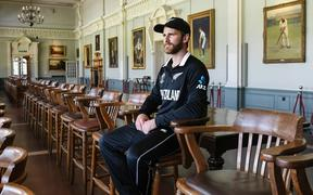 Black Caps captain Kane Williamson in the Long Room at Lord's Cricket Ground.