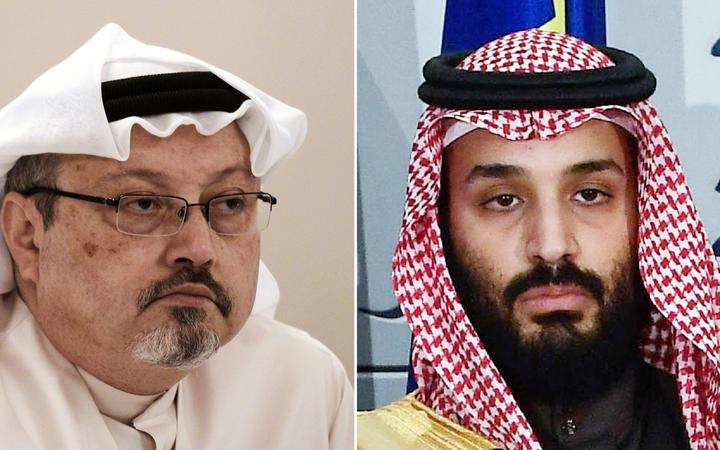 Saudi journalist Jamal Khashoggi (L) during a press conference in the Bahraini capital Manama and a file photo taken on April 12, 2018 of Saudi Arabia's crown prince Mohammed bin Salman