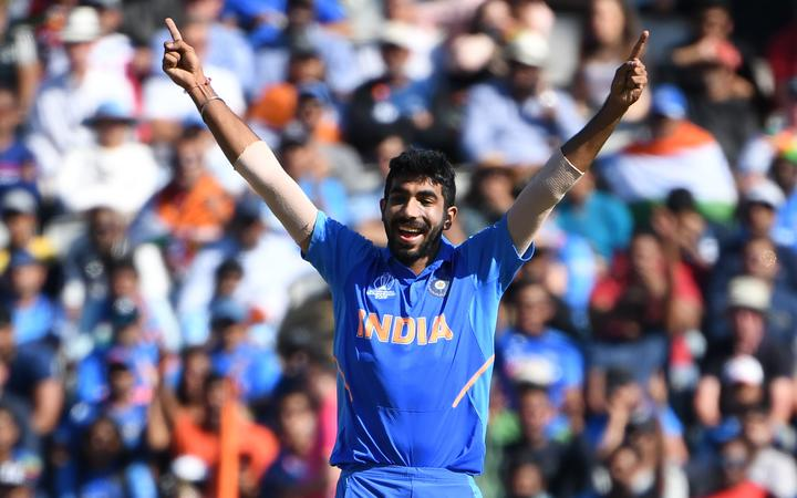 India's Jasprit Bumrah celebrates the wicket of West Indies' Carlos Brathwaite for one during the 2019 Cricket World Cup group stage match.