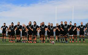The Black Ferns performing the Haka before playing Canada in their Super Series opener in San Diego.