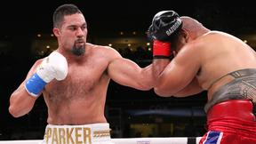 June 29, 2019; Providence, RI; Joseph Parker and Alex Leapai during their June 29, 2019 Matchroom Boxing USA card at the Dunkin Donuts Center in Providence, RI.  Mandatory Credit: Melina Pizano/Matchroom Boxing USA