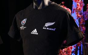 2019 Rugby World Cup All Blacks jersey.