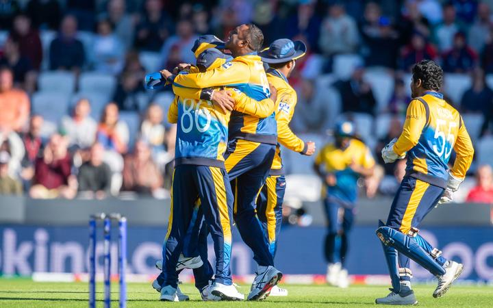 Sri Lankan cricketers celebrate