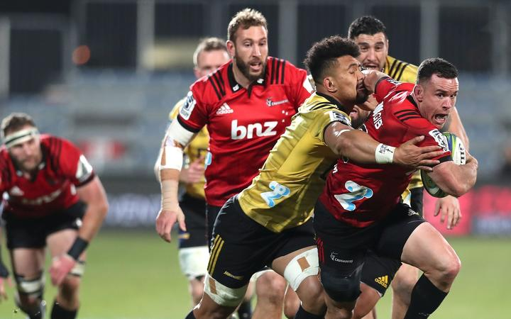 Ryan Crotty of the Crusaders. Crusaders vs. Hurricanes. 2019 Investec Super Rugby Semi Final. Orangetheory Stadium, Christchurch, New Zealand. Saturday 29 June 2019. © Copyright Photo: Martin Hunter / www.photosport.nz