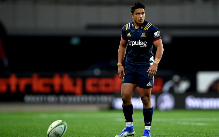 Josh Ioane of the Highlanders, during the Super Rugby match between the Highlanders and the Bulls, held at  Forsyth Barr Stadium, Dunedin, New Zealand. 7 June 2019.
