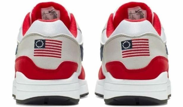 "The Nike shoe with the flag that's commonly known as the ""Betsy Ross flag""."