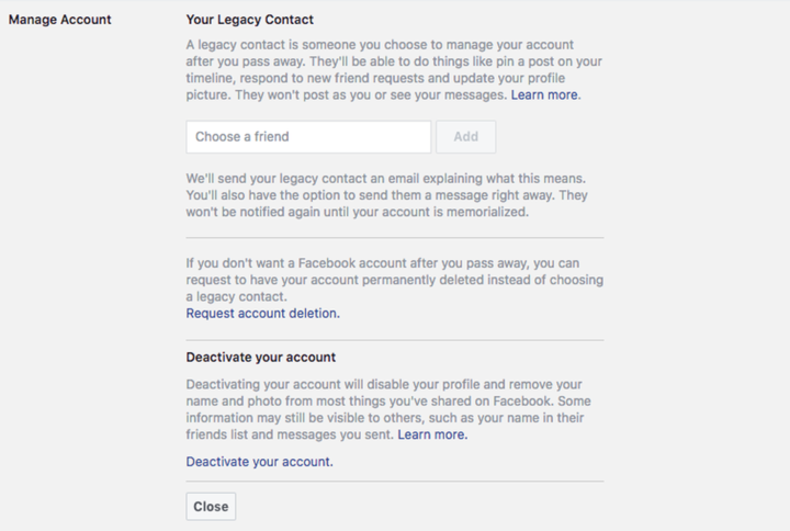 "Adding a ""legacy contact"" on Facebook."