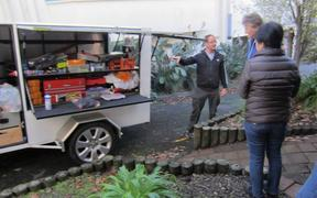 Andrew Walters in action with the Repair Cafe Trailer before the theft