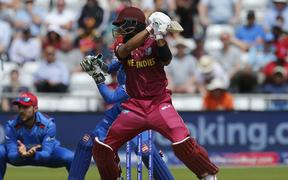 Shai Hope of the West Indies forces the ball away outside the off stump.