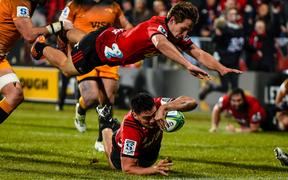Codie Taylor of the Crusaders scores a try with George Bridge of the Crusaders during the Super Rugby Final, Crusaders V Jaguares, at Orangetheory Stadium, Christchurch, 6 July 2019.