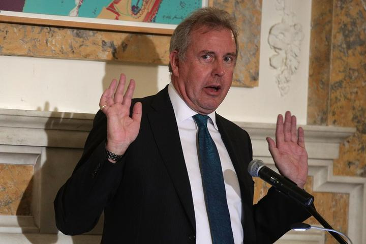 Kim Darroch speaks during an annual dinner of the National Economists Club at the British Embassy 2017 in Washington..