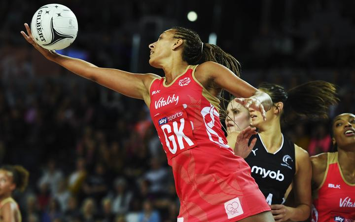 England Roses Geva Mentor in action during a match against the Silver Ferns.