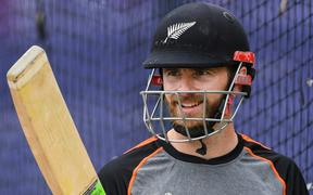 Kane Williamson in the nets at Old Trafford in Manchester ahead of the World Cup semi-final against India.