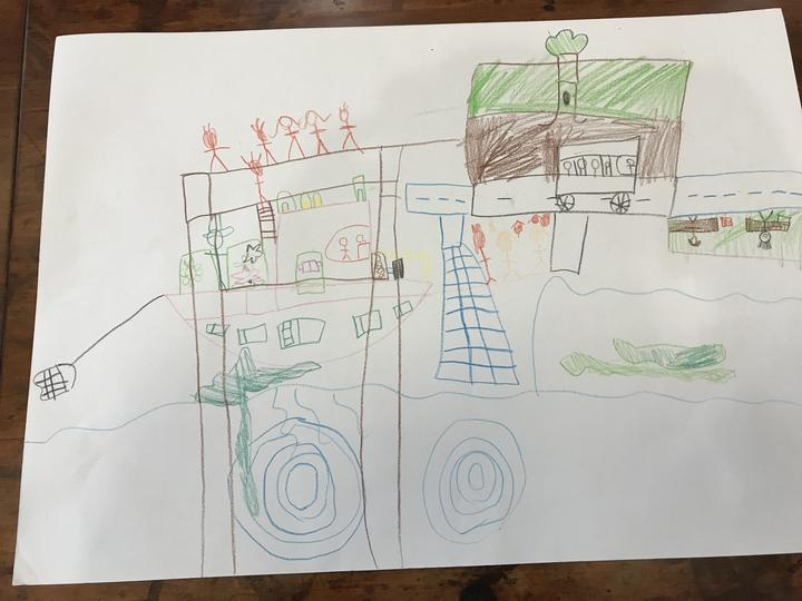 A child's drawing of an outing, collected as part of Professor Hayne's research.