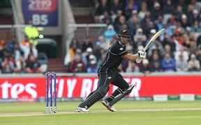Ross Taylor of New Zealand batting during the ICC Cricket World Cup 2019 match between India and New Zealand at Old Trafford, Manchester
