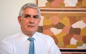 Ken Wyatt, Australia's first Minister for Indigenous Health and Minister for Aged Care, stands in his office in Canberra, Australia, 19 March 2017.