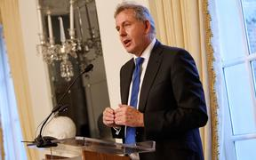 In this file photo taken on January 18, 2017 British Ambassador Kim Darroch speaks at an Afternoon Tea hosted by the British Embassy to mark the U.S. Presidential Inauguration at The British Embassy in Washington, DC.