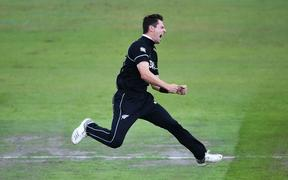 Matt Henry celebrates a wicket at Cricket World Cup 2019.