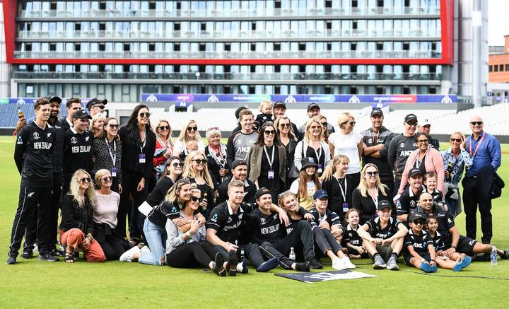 Friends and family of the NZ players. New Zealand Black Caps v India. ICC Cricket World Cup semi final match. Old Trafford Cricket ground, Manchester UK. Wednesday 10 July 2019.
