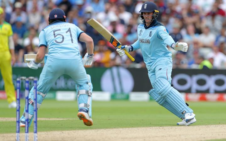 Jason Roy (right) and Jonny Bairstow avoid a collision during the Cricket World Cup 2019 semi-final between England and Australia at Edgbaston, Birmingham