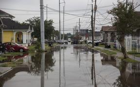 S Telemachus Street in New Orleans is flooded after flash floods struck the area early on July 10, 2019.
