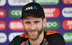 New Zealand's captain Kane Williamson addresses media representatives during a press conference at Old Trafford in Manchester, north-west England on July 8, 2019, ahead of their 2019 Cricket World Cup semi-final match against India.