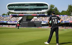 Trent Boult playing for the New Zealand Black Caps v Australia at Lord's. ICC Cricket World Cup
