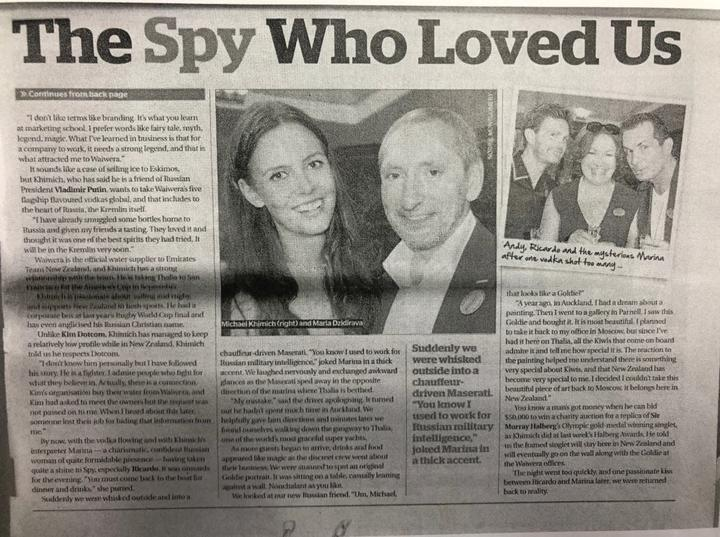 This piece from the Herald's Spy pages referred to the 'mysterious Marina' and how Khimich was friends with Putin, seemingly taking everything at face value.