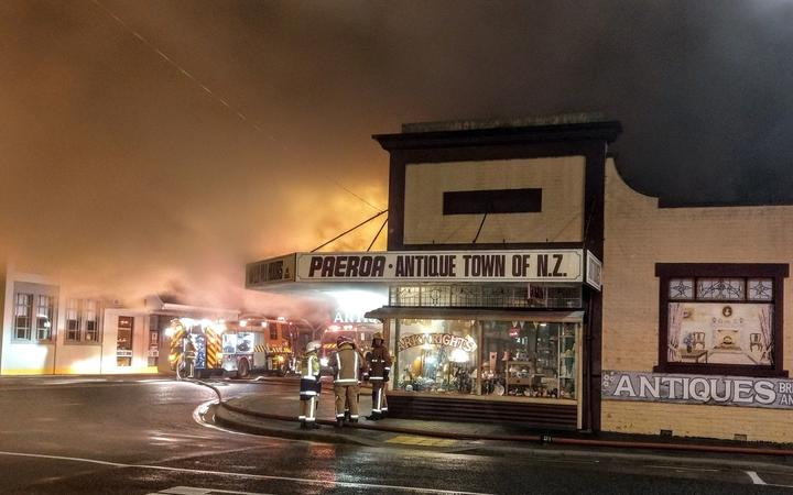 Firefighters at the scene of the fire at the Pizza Box in Paeroa.