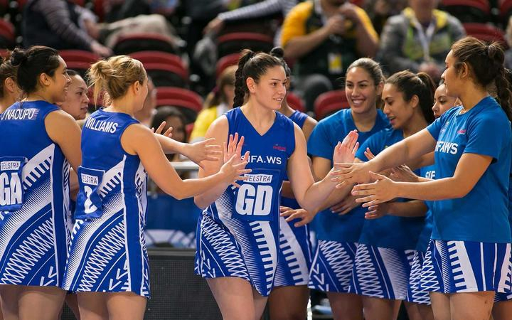 Samoa netball team at the World Cup in Liverpool