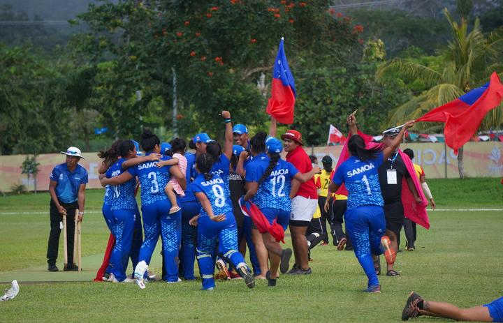 History repeated as the Samoa women's cricket team defeated Papua New Guinea by four wickets the win gold medal.